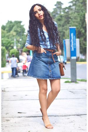 navy denim Zara skirt - gladiator Zara sandals