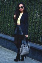 black GoJane boots - black studded Zara leggings - black Zara blazer