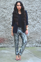 turquoise blue sequin Isabel Marant pants - black Zara blazer