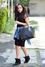Blue-denim-zara-shirt-black-shoulder-bag-michael-kors-bag