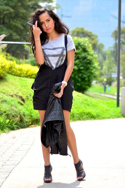 black AHAISHOPPING dress - black leather jacket Zara jacket - gray Choies shirt