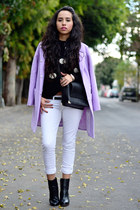 black ankle boots Zara boots - periwinkle pastels Jolly Chic coat