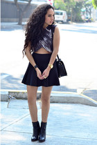 gray crop top Zara top - black ankle boots Zara boots - black skater Zara skirt