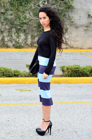 black cropped Zara top - sky blue pencil skirt Zara skirt