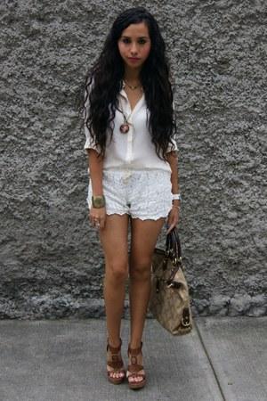 camel coach bag - cream lace OASAP shorts - bronze City Classified wedges