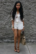 camel coach bag - cream lace OASAP shorts - bronze City Classified wedges
