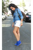blue denim Zara blouse - white Mango shorts - blue GoJane sneakers