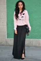 light pink Forever 21 sweater - black Zara skirt - black Zara heels