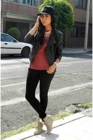 black Bershka hat - black leather jacket Zara jacket - magenta pull&bear shirt