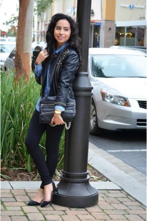 black faux leather Zara jacket - black Zara shoes - navy denim Zara blouse