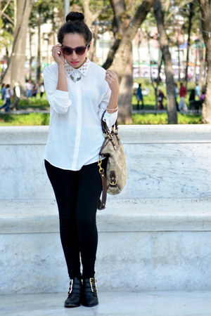 black studded pull&bear boots - black Zara pants - white Forever 21 blouse