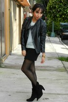 black leather jacket Zara jacket - black Nine West boots