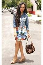 blue pull&bear jacket - brown coach bag - sky blue asymmetrical Zara skirt