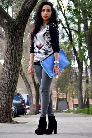 black animal print Choies sweatshirt - black GoJane boots - blue maxi Zara bag
