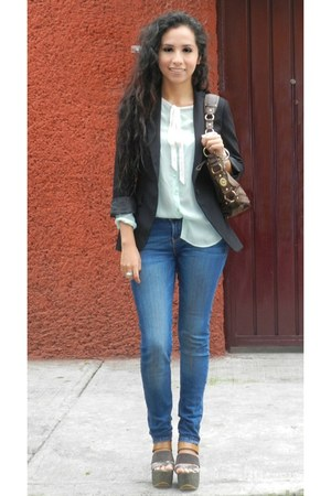 charcoal gray Zara wedges - navy pull&bear jeans - black Zara blazer