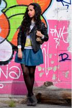 blue Forever21 skirt - dark gray Nine West boots - gray LOB hat