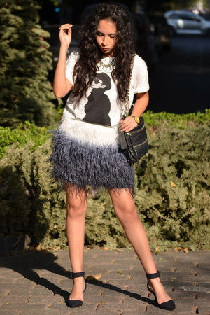 white Zara shirt - navy feathers Zara skirt - black Zara heels