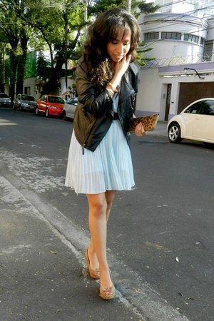 black leather jacket Zara jacket - light blue OASAP dress