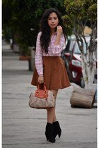 pink Massimo Dutti shirt - black Westies boots - tawny Forever21 skirt