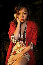 red jacket - brown Thrift Shop dress