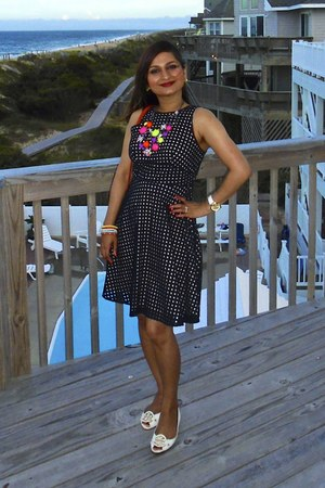 tory burch bag - cotton Loft dress - Amrita Singh necklace - tory burch wedges