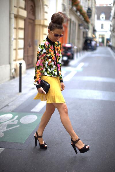 salmon blouse - black asos heels - yellow skirt