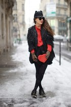black asos coat - red vintage blouse - camel Dorothy Perkins gloves