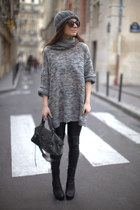 heather gray sweater - black H&M leggings