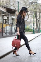black Fashion Pills leggings - ruby red Fashion Pills bag - black asos heels