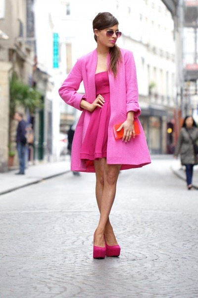 hot pink Hedonia Liberty dress - bubble gum Paper London Sandman coat