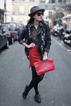 red skirt - black jacket - brown blouse