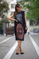 salmon Miss Selfridge skirt - black karen millen heels