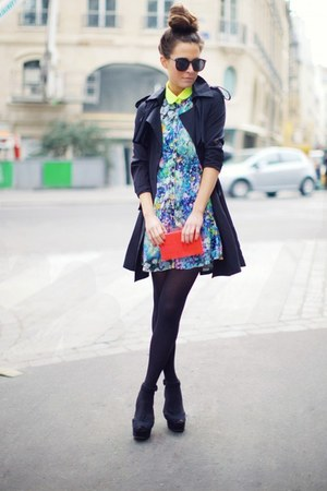 turquoise blue Lashes of London dress - black Chicwish coat - red purse