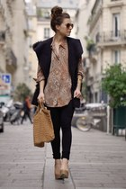 black citizens of humanity jeans - bronze Zara bag - tan new look heels