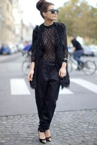 black pants - black vest - black blouse