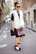 white vest - black heels - bubble gum skirt