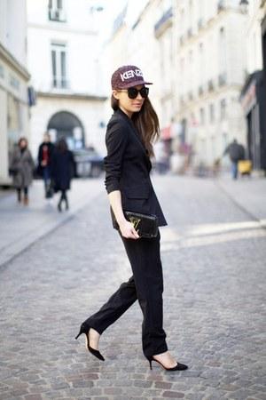 light purple Kenzo hat - black bag