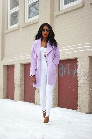 periwinkle Missguided coat - white white pants Urban Outfitters jeans