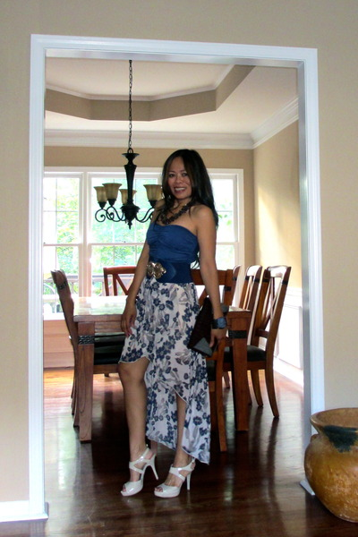 dark brown bag - high-low maxi dress - dark brown necklace - bcbg heels