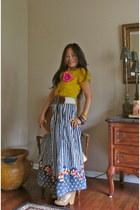 flower stripes skirt - crochet mustard shirt