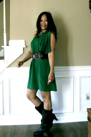 green asoscom dress - brown Guess boots - brown vintage belt - necklace