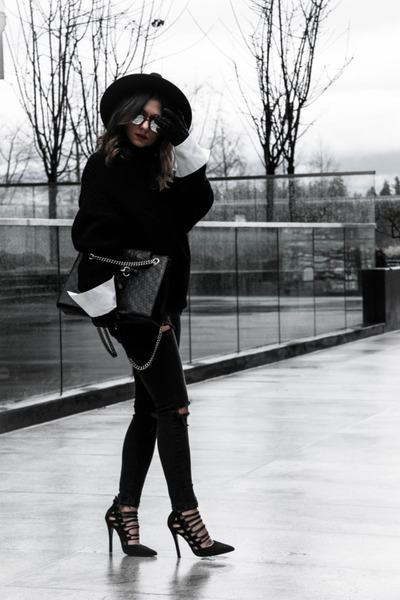 black Zara hat - lace up asoscom shoes - skinny jeans Topshop jeans