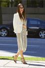 White-zara-blazer-white-clutch-aldo-bag-stripe-romper-forever-21-bodysuit