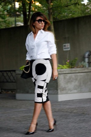 white BCBG blouse - bag Gucci bag - shoes Christian Louboutin heels