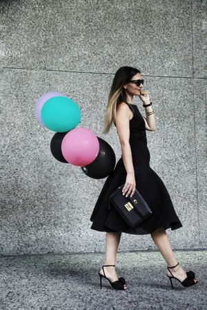 black Charlotte Olympia shoes - black Black Halo dress - black Celine sunglasses