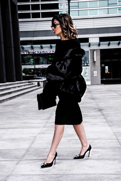 black Racheal Roy dress - faux fur Ivanka Trump jacket - aquzzura heels
