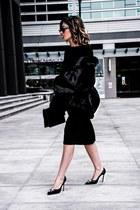 black Racheal Roy dress - faux fur Ivanka Trump jacket - aquzzura heels