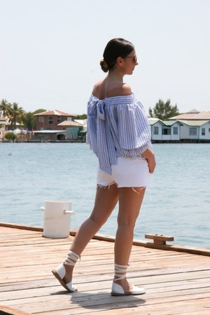 sandals Topshop shoes - jeans Topshop shorts - of-the-shoulder Chicwish top