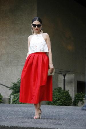 red Chicwish skirt - black Celine sunglasses - sparkle stuart weitzman sandals