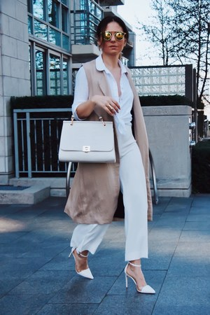 nude Zara coat - white Zara shirt - white Zara bag - shoes Zara heels